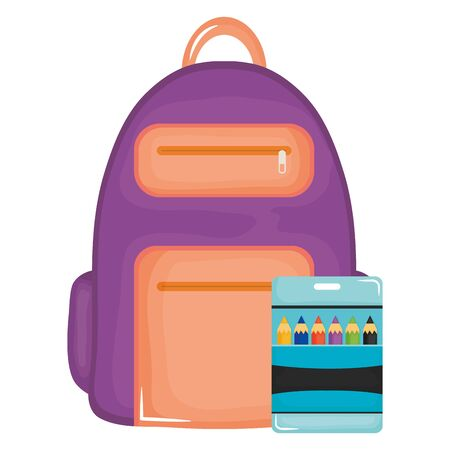 schoolbag and colors pencils supplies Stock Illustratie