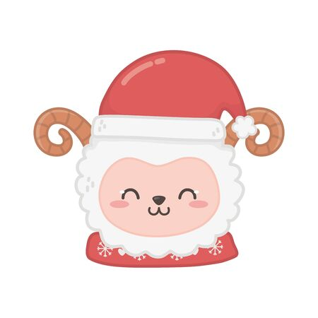 cute sheep head with hat animal merry christmas Stock Illustratie