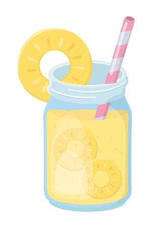 Pineapple juice design, Drink glass beverage fresh food and healthy theme Vector illustration
