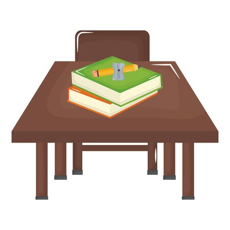 schooldesk wooden and chair with supplies vector illustration design