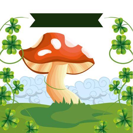 raw mushroom cartoon vector illustration graphic design Stock Illustratie