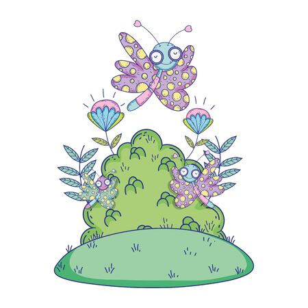 beautiful butterfly flying with bush vector illustration design Ilustracja