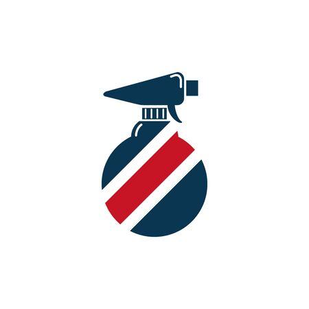 barber round spray bottle accessory icon design illustation  イラスト・ベクター素材