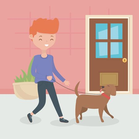 boy with dog walking in the room pet care vector illustration