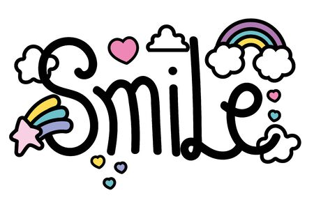 Smile word design, Typography message note feeling think and inspiration theme Vector illustration 向量圖像