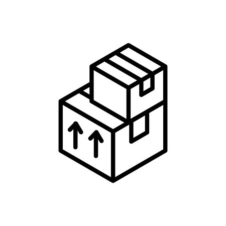 stacked cardboard boxes delivery icon vector illustration thick line Ilustração