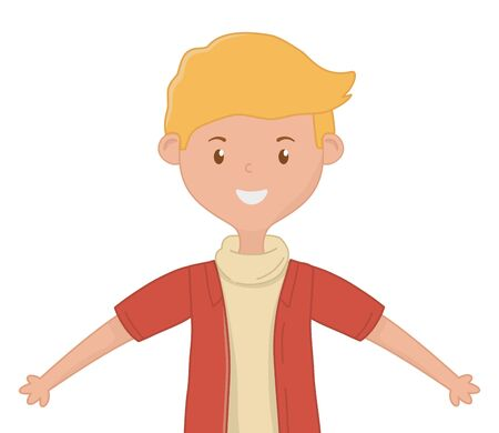 Teenager boy design, person portrait young youth student and teen theme Vector illustration