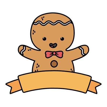 gingerbread man ribbon decoration merry christmas 向量圖像