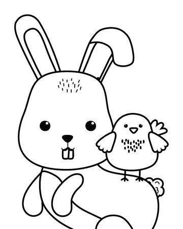 Isolated rabbit and chicken cartoon