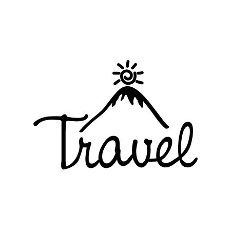 travel adventure calligraphy messsage font vector illustration design