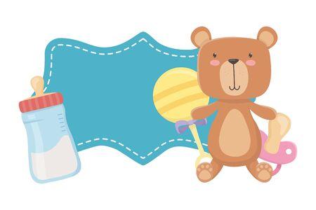 Baby shower symbol design, Invitation party card decoration love celebration arrival and born theme Vector illustration