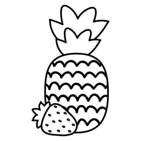 fresh pineapple with strawberry fruits summer icons vector illustration design