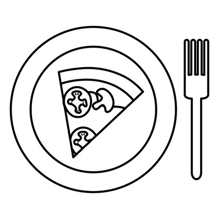 dish with delicious italian pizza and fork vector illustration design