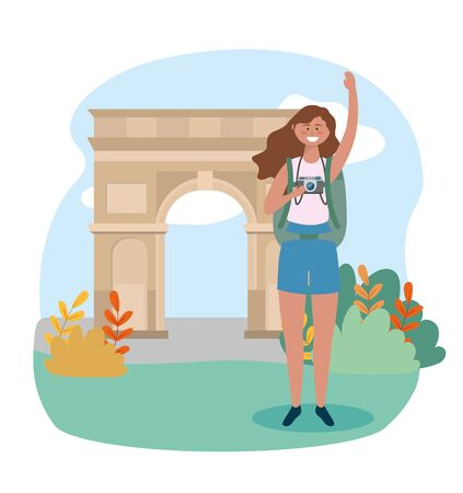 woman with backpack and camera to arc triomphe destination vector illustration 일러스트