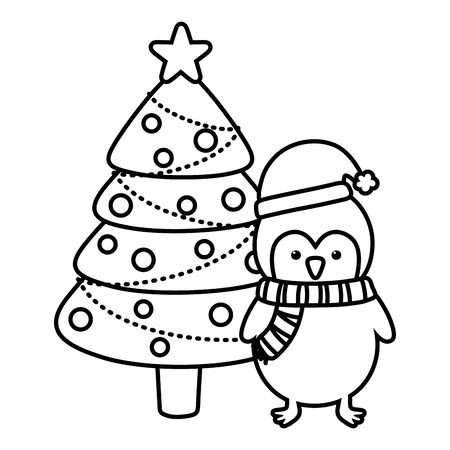 penguin and tree with balls star decoration merry christmas line style