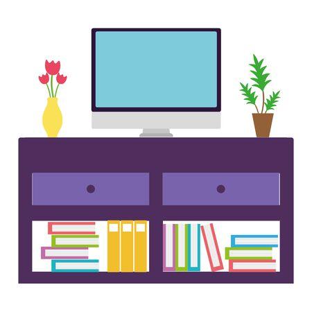 Isolated furniture with tv design Illusztráció