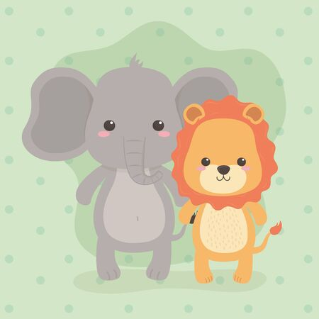 cute and little elephant and lion characters vector illustration design Foto de archivo - 133278489
