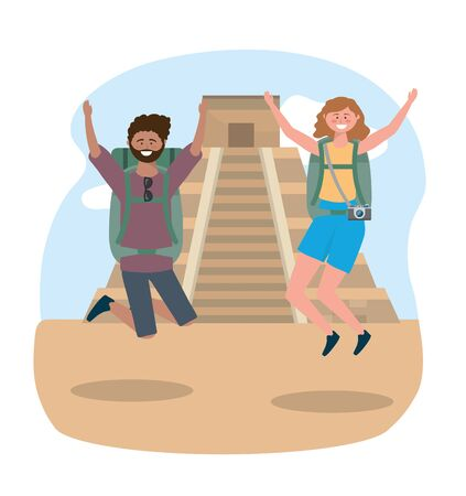 Woman and man jumping with backpack and camera to temple inscription destination
