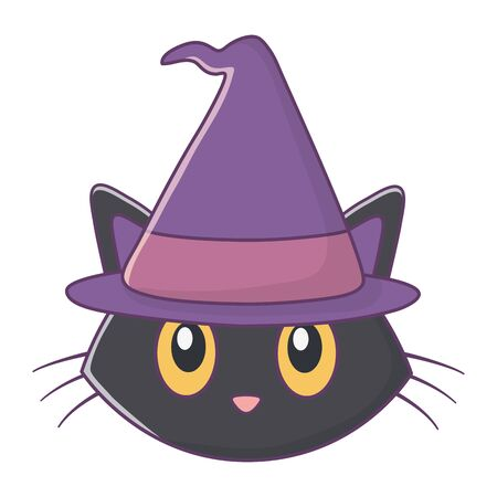Cat with witch hat for happy halloween