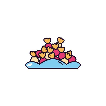 wrapped hard candy in dish sweet and candies icon line fill  イラスト・ベクター素材