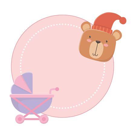 Baby stroller and teddy bear design Ilustrace