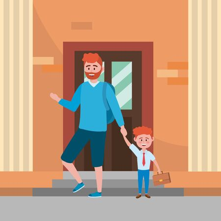 Father and son going to school Ilustrace