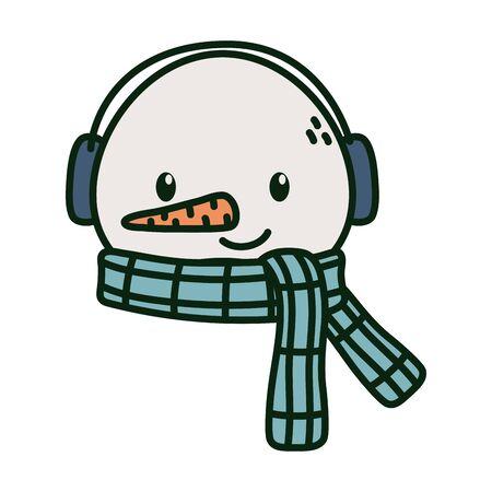 Snowman face with scarf earmuffs celebration merry christmas Archivio Fotografico - 133680262