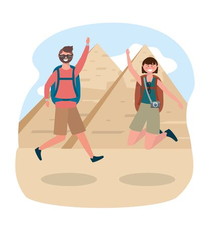 Woman and man jumping with backpack and camera to egyptian pyramid adventure
