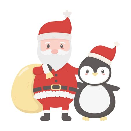 Santa with bag and penguin celebration merry christmas on white Archivio Fotografico - 133680268