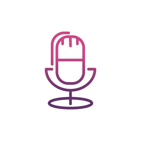 microphone sound network social media icon line Illustration