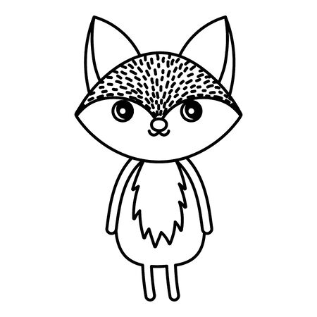 cute fox animal standing on white background vector illustration thick line