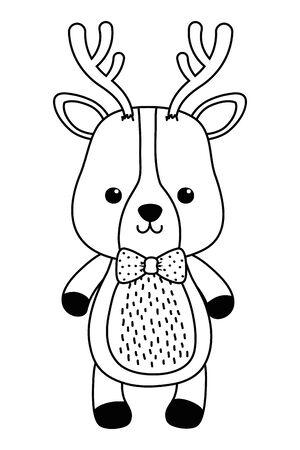 Reindeer cartoon design, Animal cute zoo life nature and fauna theme Vector illustration