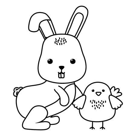 Rabbit and chicken cartoon design, Animal cute zoo life nature and fauna theme Vector illustration Ilustrace