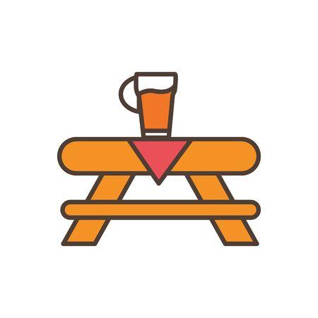 beer on table oktoberfest icon line filled Stock fotó - 133488993