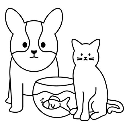 cute cat and dog with fish in aquarium mascots Ilustrace