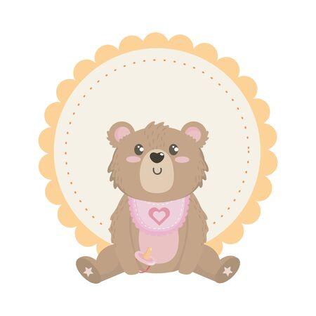 Baby shower design, Invitation party card decoration love celebration arrival and born theme Vector illustration Ilustrace