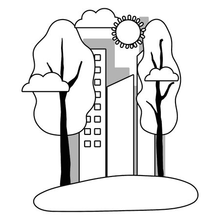Isolated city and trees design Illustration