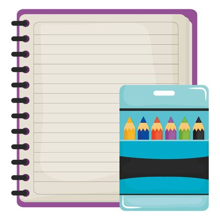 notebook school supply with colors pencils vector illustration design