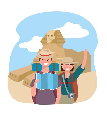 woman and man couple with backpack and global map