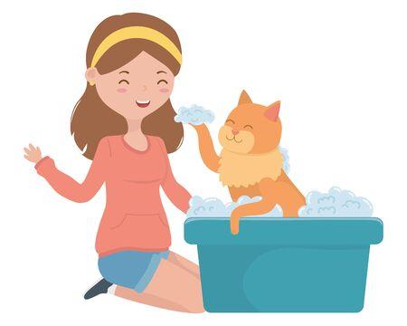 Girl with cat cartoon design, Mascot pet animal domestic cute life nature and fauna theme Vector illustration