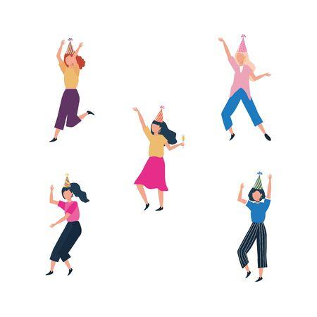 set of cute women with party hat over white background vector illustration Illusztráció
