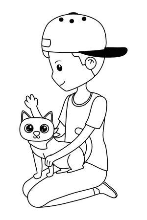 Boy with cat cartoon design Ilustrace