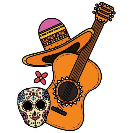 guitar with mexican hat Vectores
