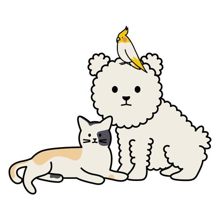 cute cat and dog with bird mascots adorables characters