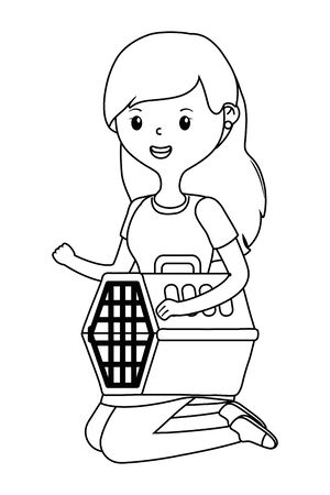 Teenager girl cartoon with kennel design