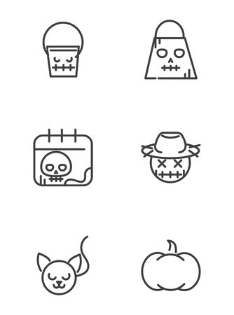 collection icons trick or treat happy halloween line style