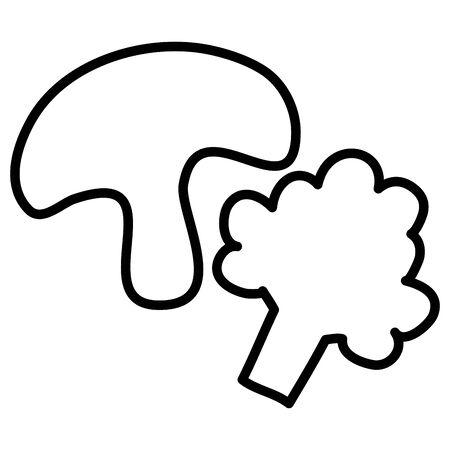 broccoli and mushroom vegetables healthy food vector illustration design Illustration