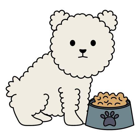 little dog adorable with dish food Foto de archivo - 133488919