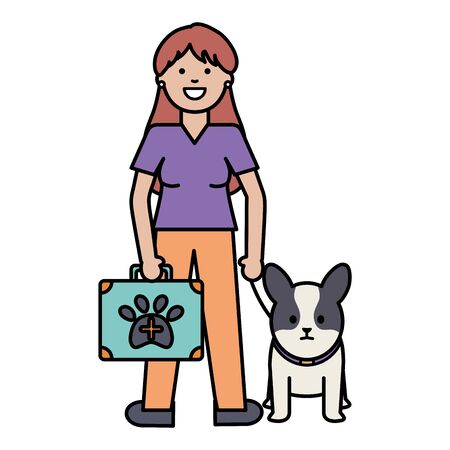 young woman with little dog and medical kit