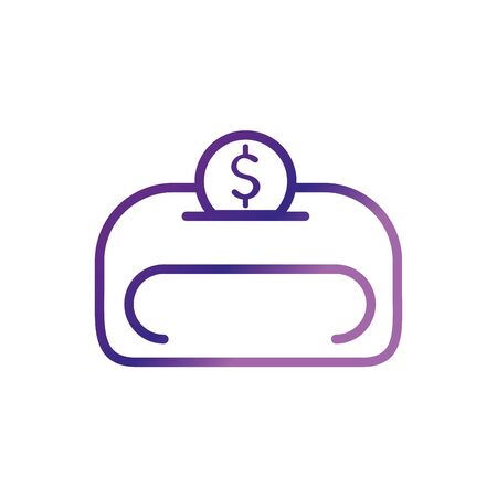 safe coin money charity help donation gradient line vector illustration
